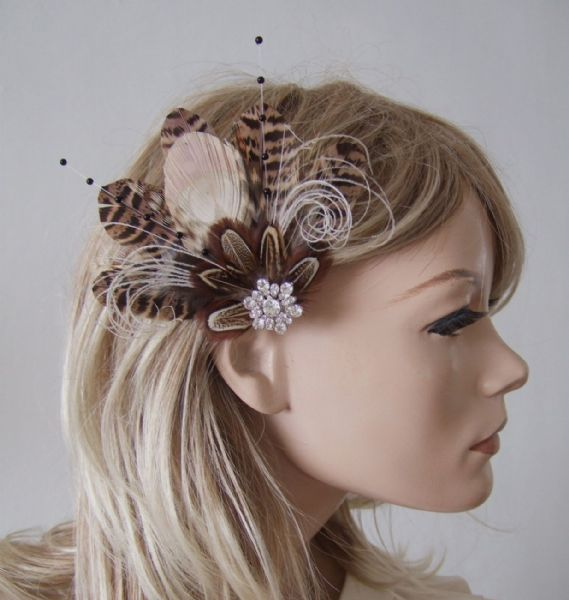 "Natural Peacock Brown Cream Nudes Feathers Fascinator Hair Clip ""Leanne"""